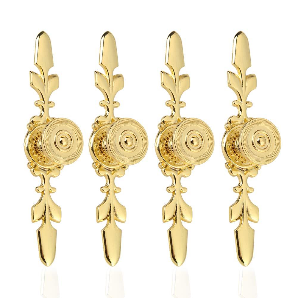 Fdit Lot de 4 Vintage Style Poigné e de Traction Bouton de Porte Plaque de Fond pour Home tiroir de Meuble Armoire penderie Armoire Placard avec vis doré
