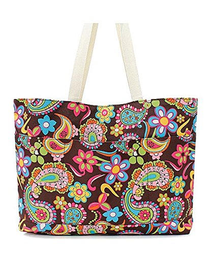 Brown Paisley Pattern Large Canvas Tote Bag for Shopping or Travel (Wholesale Coach Inspired Handbags)