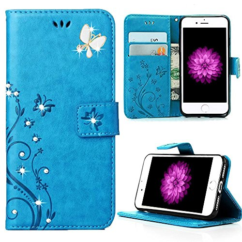 Miniko(TM) iPhone 7 Plus 3D Fashion Handmade Bling Crystal Rhinestone Floral Pattern Flower Wallet Case Girly Design PU Leather Case with [Card Holder] Folio Pocket Case for iPhone 7 Plus Blue