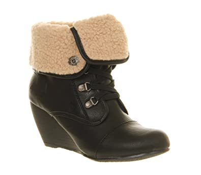 Blowfish Buster Shearling Boot Black Old Saddle Natural Shearling - 7 UK