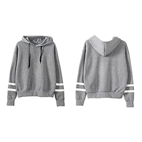 MeterMall Unique Style Women Concise Solid Color Hoodie Long Sleeve Fashion Loose Type Soft Cotton Tops Gray S at Amazon Womens Clothing store: