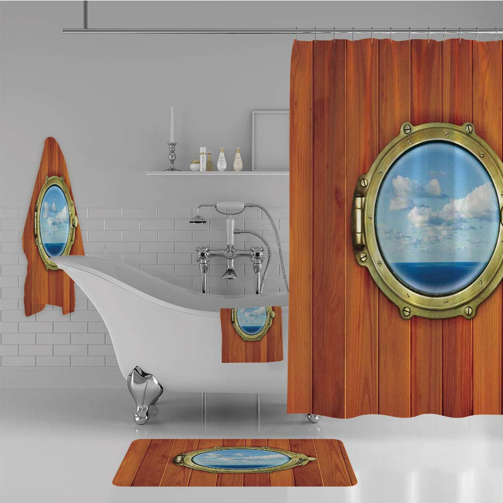 iPrint Bathroom 4 Piece Set Shower Curtain Floor mat Bath Towel 3D Print,Wooden Background Window Ship at The Old Sailing,Fashion Personality Customization adds Color to Your Bathroom.