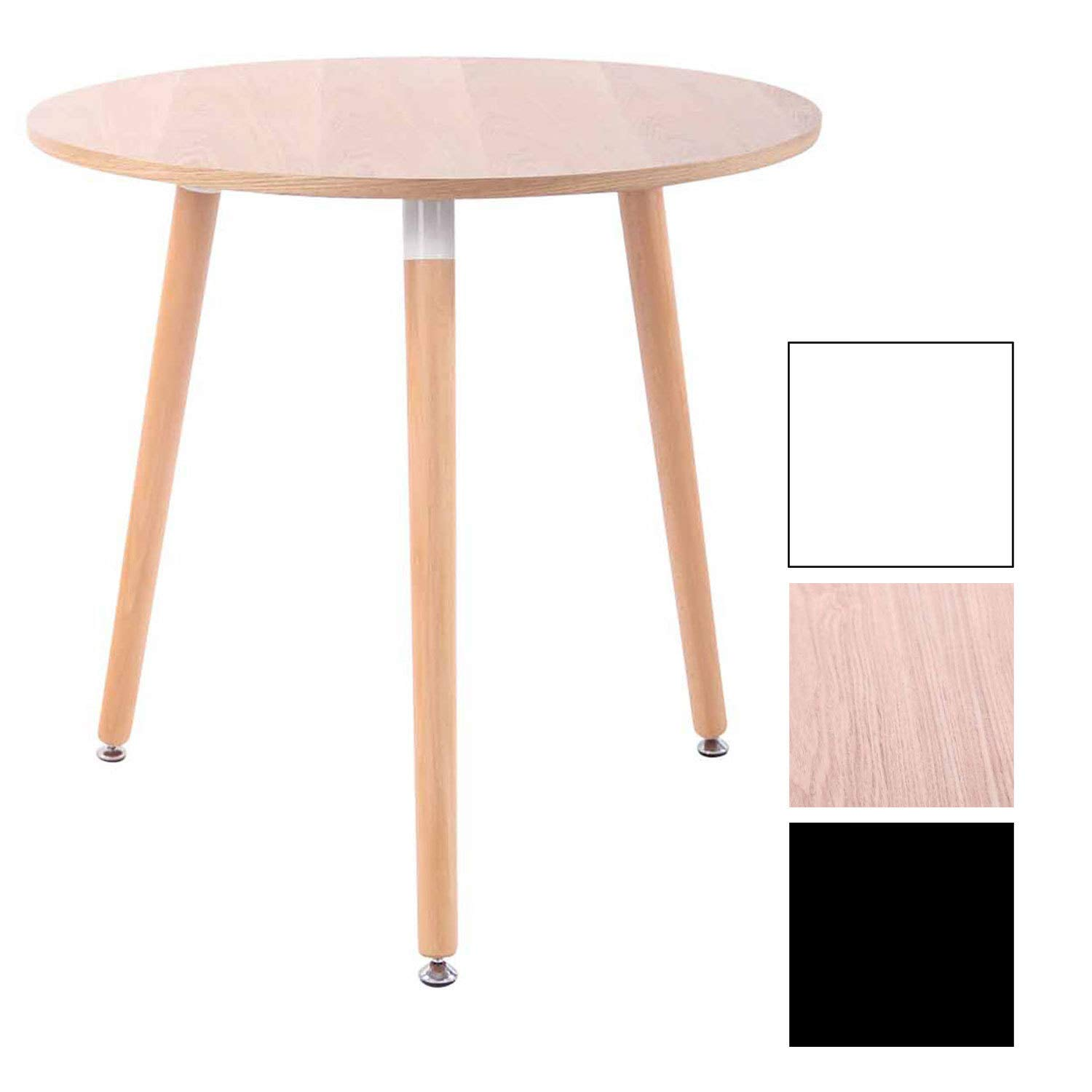 natura 80 x 80 cm 3 wooden legs CLP dining table ANSGAR round tabletop natura