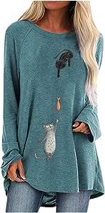 Lataw Women Tops and Sweatshirt Stylish Soft Plus Size Tops Print Round Neck Long Sleeved Long T-Shirt Leisure Sporty Blouse Tunic