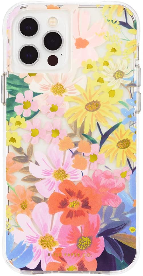Rifle Paper Co - Case for iPhone 12 and iPhone 12 Pro (5G) - 10 ft Drop Protection - Floral Design - 6.1 Inch - Marguerite