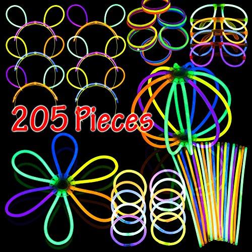 Glow Party Pack - Glowsticks - Bracelet Connectors - Eyeglasses Connectors - Headband Connectors - Party Favors - By Dragon Too (205 Piece - Eyeglasses Aviator Glow