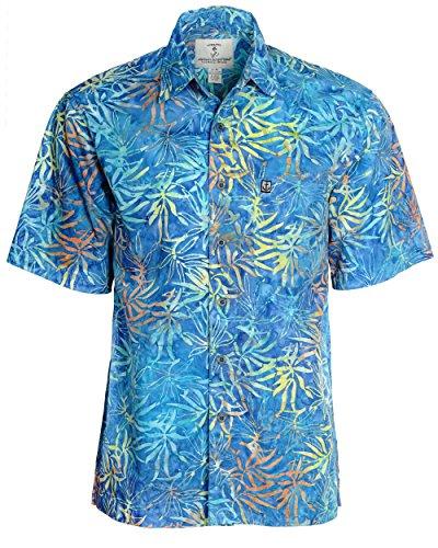 Artisan Outfitters Mens Oasis Batik Cotton Shirt A0214-63 (2XL, Ultramarine)