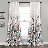 Cheap Lush Decor Zuri Flora Window Curtain Panel Pair, 84″ x 52″, Blue and Coral