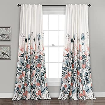 Lush Decor Zuri Flora Curtains Room Darkening Window Panel Set for Living, Dining, Bedroom (Pair), 84