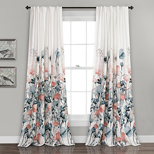 "Lush Decor Zuri Flora Curtains Room Darkening Window Panel Set for Living, Dining, Bedroom (Pair), 84"" x 52"", Blue and Coral"