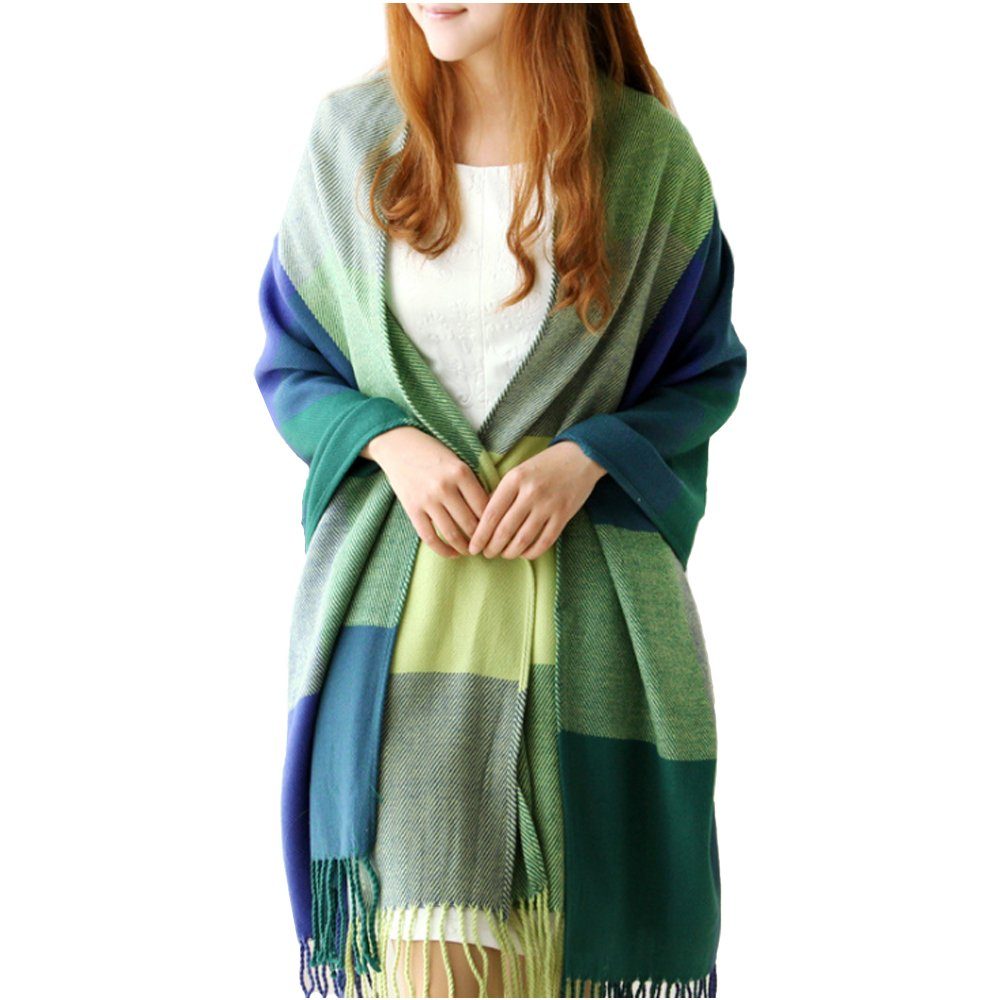 XDGOOD Pashmina Scarf & Fine Soft Comfortable Cashmere Shawl Premium Large Scarf Women Scarves Wraps Womans Warm 75.6 X24 in Green