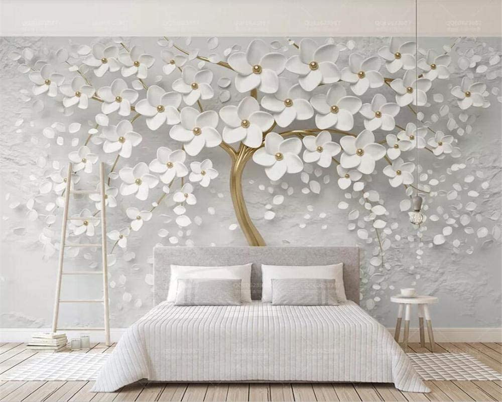 Amazon Com Nidezuiai Mural Customize 4d Wallpaper Plant Series Three Dimensional White Flower Golden Trunk Large Silk Mural Hd Print Art Wall Painting Poster Picture For Living Room Bedroom Home Decor Furniture Decor
