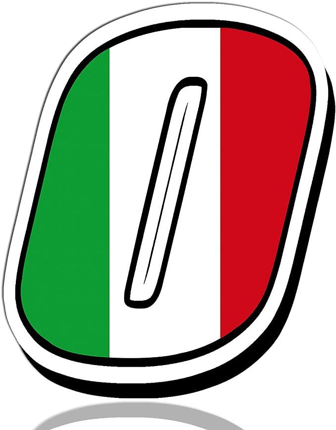 Biomar Labs® Número 0 Bandera de Italia Nacional Italy Calavera Vinilo Adhesivo Pegatina Coche Auto Motocross Moto Sport Start Racing Tuning N 310: Amazon.es: Coche y moto