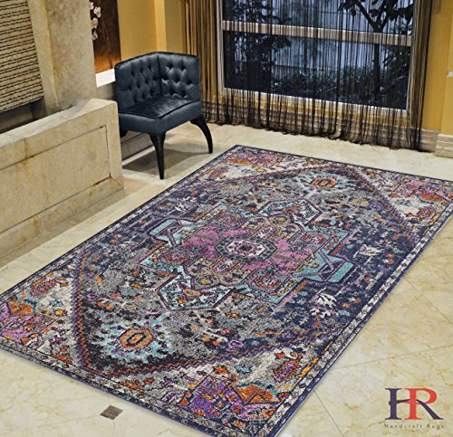 Denim 8x10 Area (Handcraft Rugs 8x10 Unique Color Persian Oriental Tabriz Ziegler Floral Modern Contemporary Vintage Faded Distressed Area Rug. Best seller Rug. Color: Purple, Hot Pink, Yellow,Anthracite and)