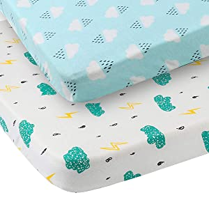 Pack n Play Sheet Fitted 2 Pack Playard Mattress Cover 100% Jersey Cotton Ultra Soft Stretchy Portable Mini Crib Sheets for Baby, Clouds Raindrops Prints Green and White