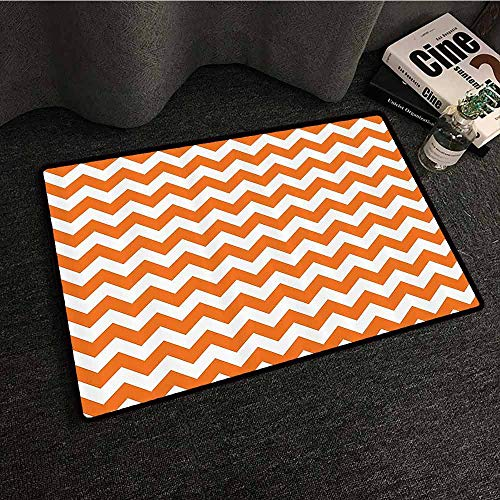 Chevron Decor Front Door Mat Large Outdoor Indoor Halloween Pumpkin Color Chevron Traditional Holidays Autumn Celebrate Personality W35 xL59 -
