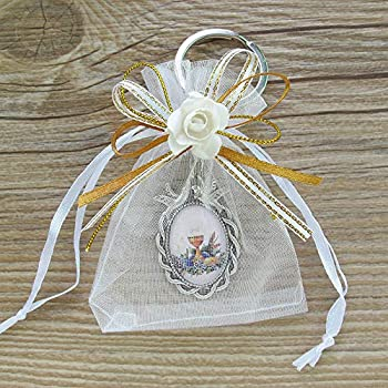 WE 12 Pcs First Communion Keychain with Organza Favor Bags for Boy and Girl - Recuerdos para Primera Comunion