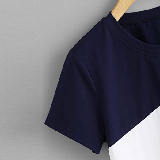 MRULIC Damen Fashion Casual Kurzarm O-Ausschnitt Patchwork Bluse ...