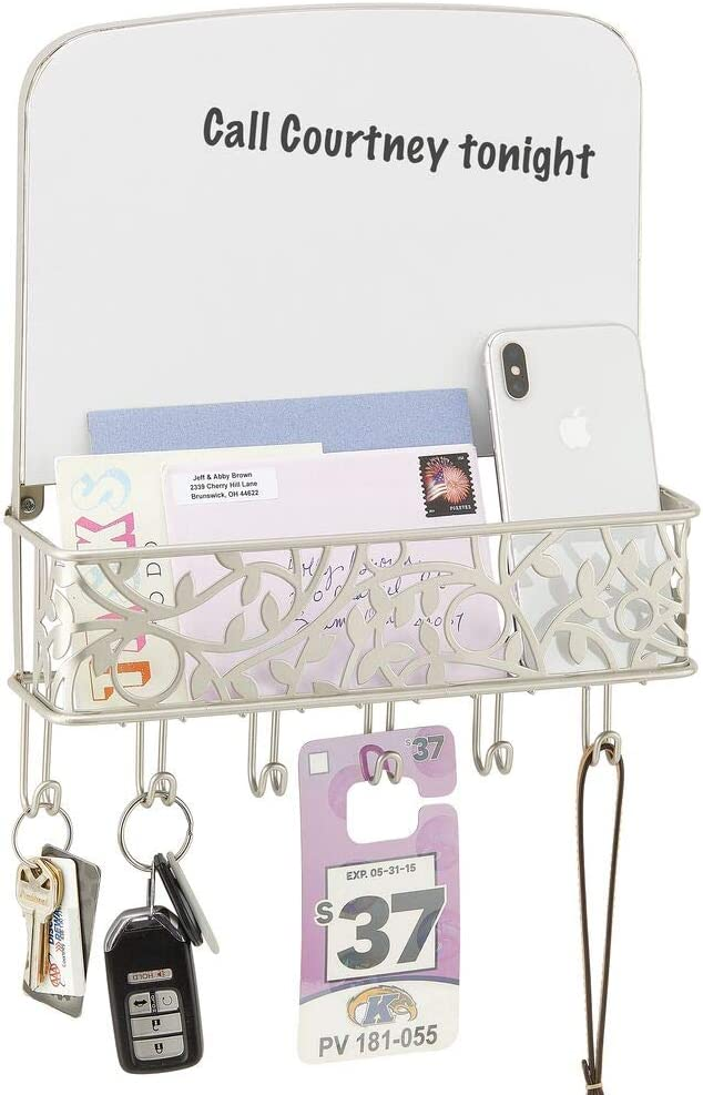 mDesign Metal Wall Mount Entryway, Office Storage Organizer Mail Basket with Dry Erase Board, 6 Hooks - Holds Letters, Magazines, Keys, Coats, Leashes - Vine Design - Satin