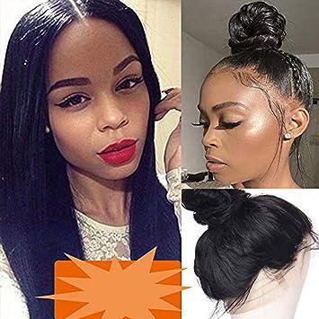 Pelucas Mujer Pelo Natural de Cabello Cortina Humano Brasileñas Pelo Afro [360 Around Lace] Lace Front Wig Human Hair Cabello de Bebe 100% Virgin ...