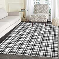Plaid Area Rug Carpet Black and White Tartan Pattern Graphic Grid Art Design with Traditional Influences Customize door mats for home Mat 3x5 Black White