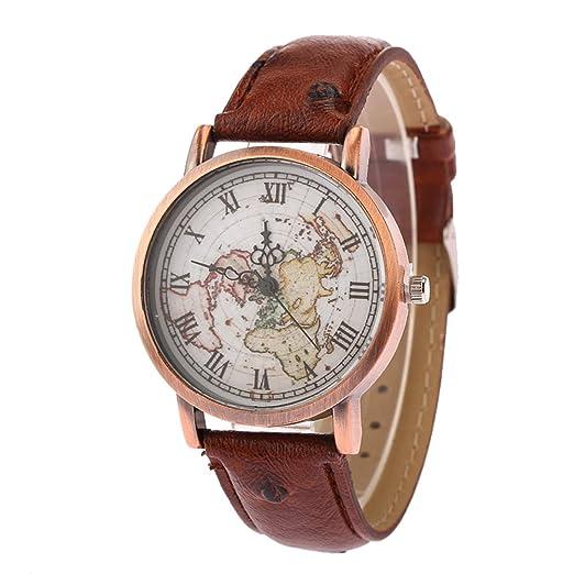 Moda Retro Relojes para Niño Niña Hombre Mujer - Correa de Cuero Mapa Mundial Dial de Escala de Números Romanos Relojes de Pulsera para Unisexo Niños, ...