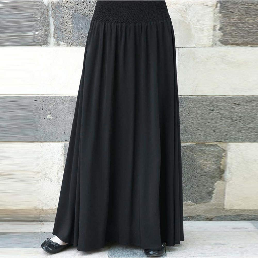 Whear Women Elastic High Waist Pleated Skirt Flare Solid Color A Line Shirring Casual Long Skirt Beach