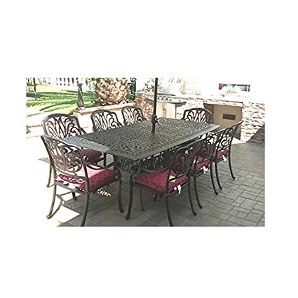 Peachy Cast Aluminum Outdoor Furniture Elisabeth 9Pc Patio Dining Set With 44X84 Rectangle Table Theyellowbook Wood Chair Design Ideas Theyellowbookinfo