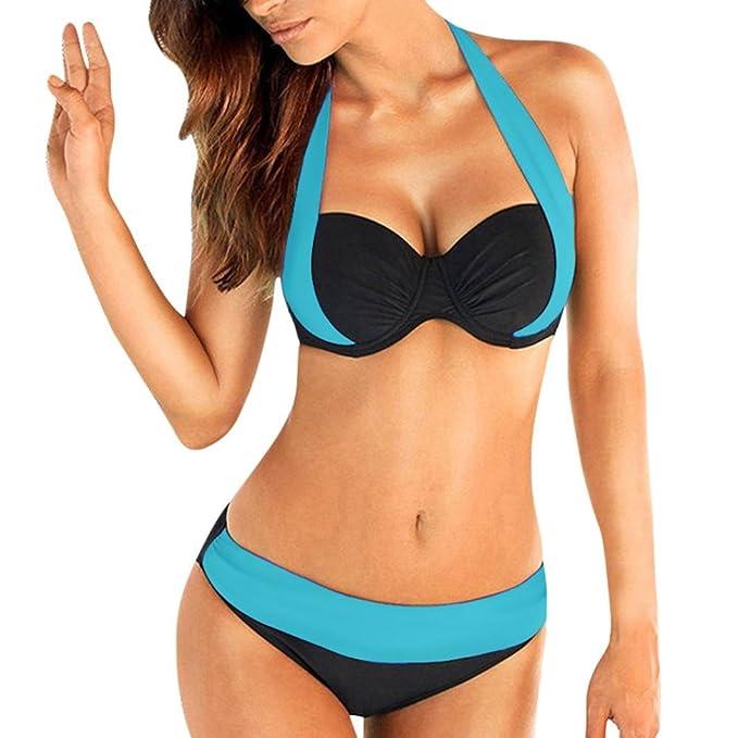 SHOBDW Mujeres empujan hasta Sujetador Acolchado Bandeau bajo Cintura Bikini Traje de baño más tamaño (