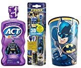 Batman Kids Toothbrush & Mouthwash Bundle: 3 Items - Turbo Power Toothbrush, ACT Fruit Punch Mouthwash, Character Rinse Cup