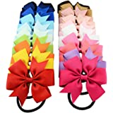 20Colors High Quality Boutique Ribbon Bow With Elastic Hair Bands Cute Pinwheel Hair Accessories For Girls