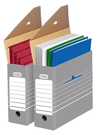 Elba 83420 - Caja de almacenamiento para archivadores (50 unidades), color gris y blanco: Amazon.es: Oficina y papelería