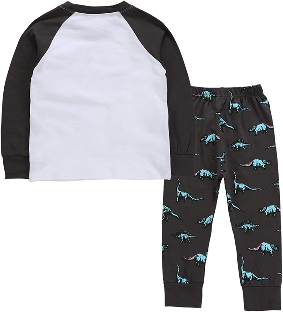 Ni/ños Primavera Oto/ño Pijamas con Estampado de Dinosaurio de Manga Larga Juego Leisure Home Wear 2pcs