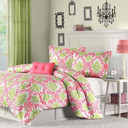 Fast Furnishing Twin Size Coral Pink White Light Olive Green Damask Comforter Set