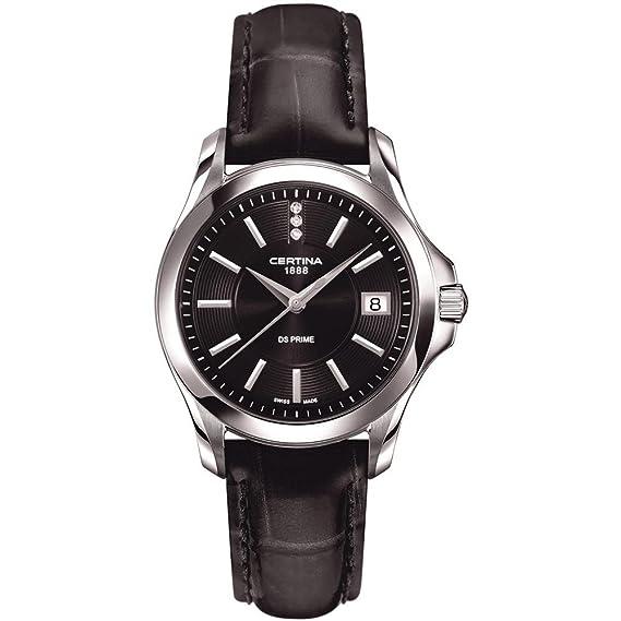 Certina - Reloj Analógico de Cuarzo para Mujer, correa de Cuero color Negro: Amazon.es: Relojes