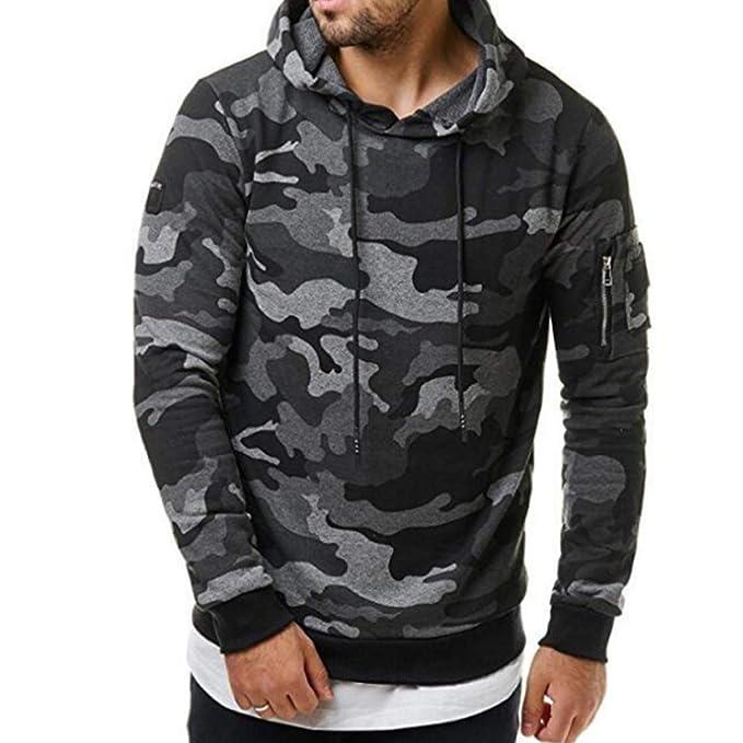 Aiweijia Print Hooded Men Pullovers Coat Sudaderas Sudaderas Jacket Camuflaje: Amazon.es: Ropa y accesorios