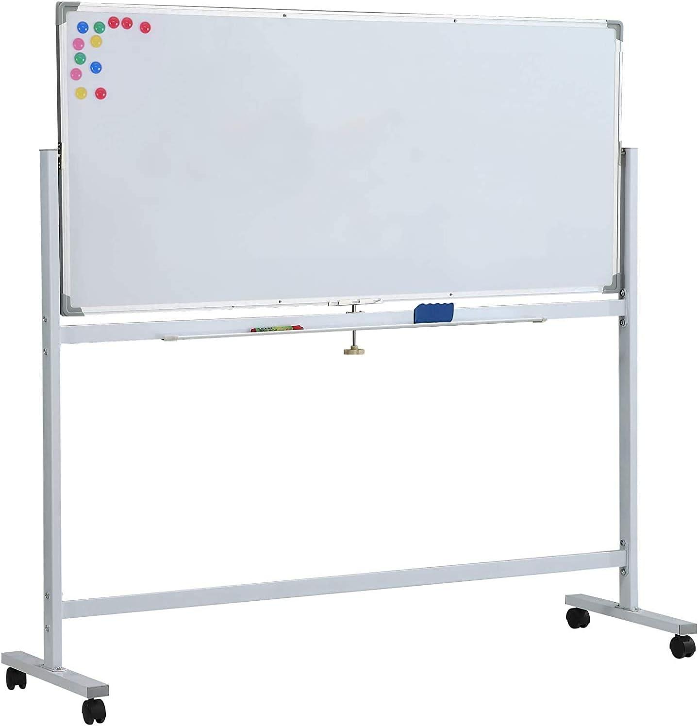 90 x 60 cm magn/ética de doble cara con soporte pizarra con marco de aluminio XIWODE Pizarra blanca m/óvil