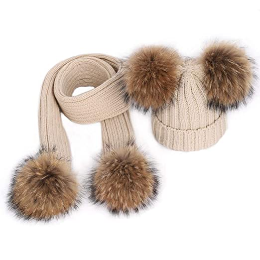 302e42423b7 Image Unavailable. Image not available for. Color  Kids Winter Pompom Hat  Scarf Set Toddler Detachale Big Raccoon Fur Double Ball Beanies Scarf  Knitted