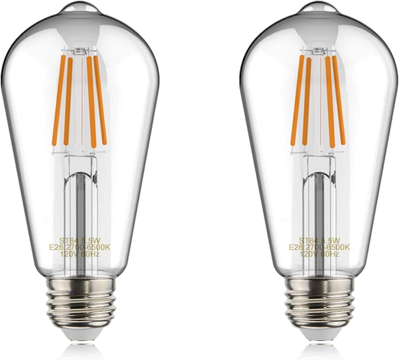 helloify Edison ST19(ST64) WiFi LED Smart Bulb, Filament Vintage Style, Tunable White Changing, Work with Alexa Google Home (No Hub), E26, 2700K-6500K, 2Pack, Daylight White