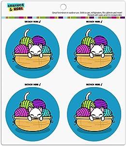 Cat In Yarn Basket Refrigerator Fridge Locker Vinyl Circle Magnet Set