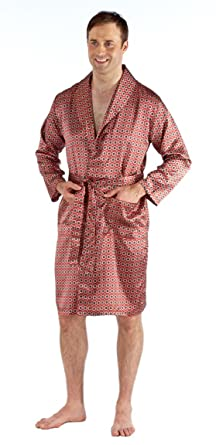 84b08b7815e0 Mens Luxury Summer Printed Satin Kimono Wrap/Robe/Dressing Gown (X-Large  Chest : Up to 44 Inches, Maroon): Amazon.co.uk: Clothing