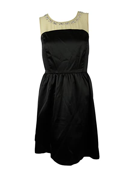 Amazon Com Kensie Womens Chiffon Inset Rhinestone Cocktail Dress