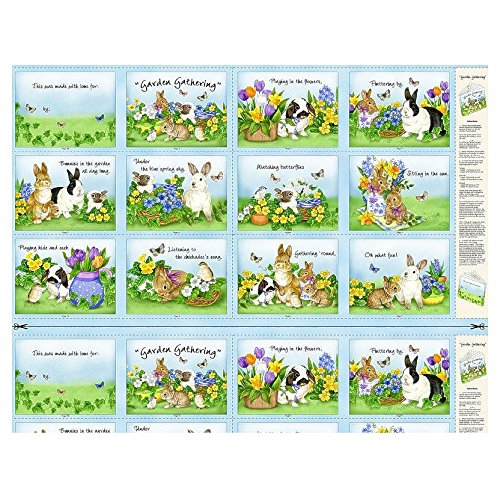 """Springtime Easter Bunnies 23"""" x 43"""" Book Panel - Cotton, used for sale  Delivered anywhere in USA"""