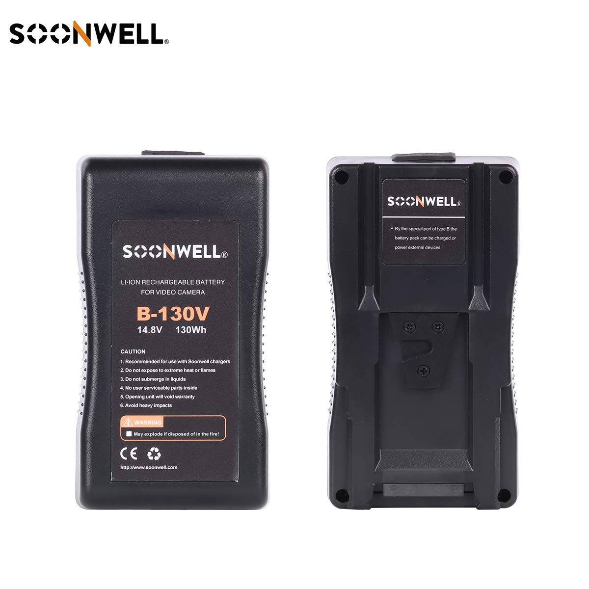 SOONWELL 130Wh Li-ion Camera Battery V-Mount Rechargeable Battery Compatible Sony Replacement for DSLR Video Camera by SOONWELL