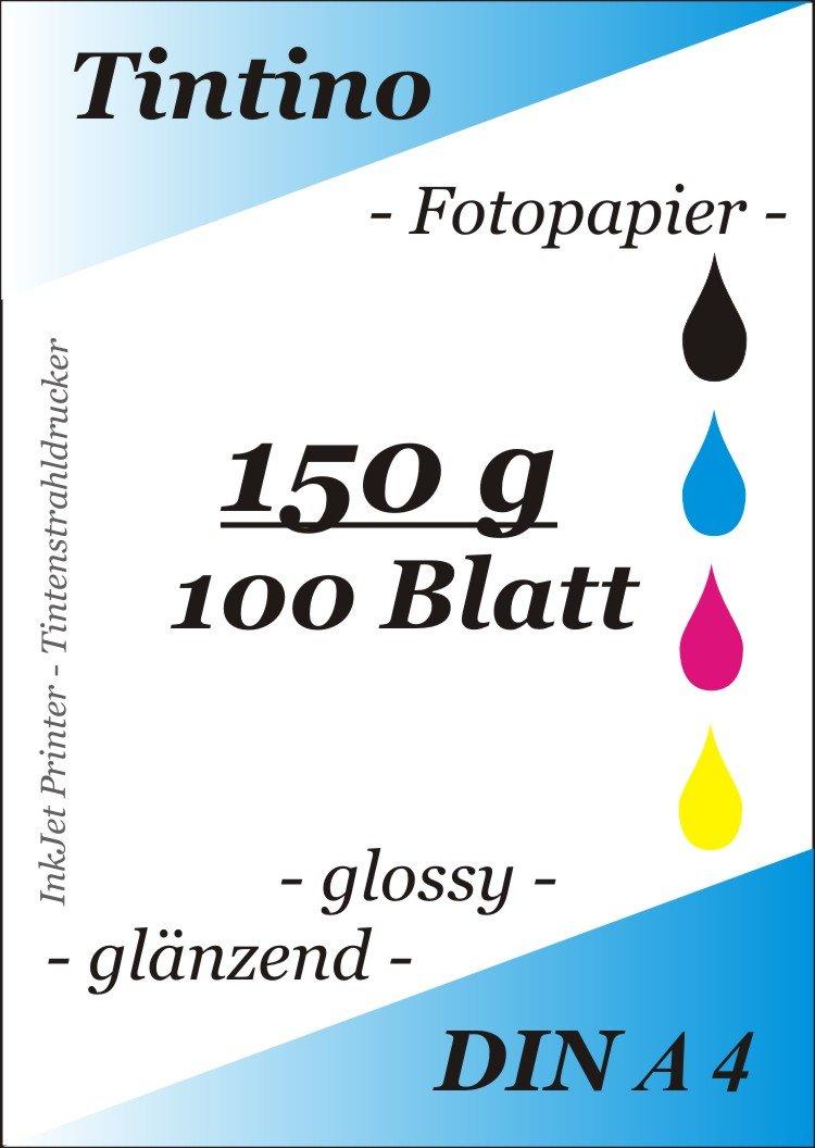 Tintino - Carta fotografica formato A4 per stampante a getto d'inchiostro, 100 fogli, 150 g/m?, extra lucida, waterproof, ad asciugatura rapida, per colori brillanti, colore: Bianco