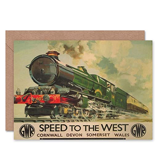 Wee Blue Coo Speed To The West - Gwr Steam Train Blank Card ...
