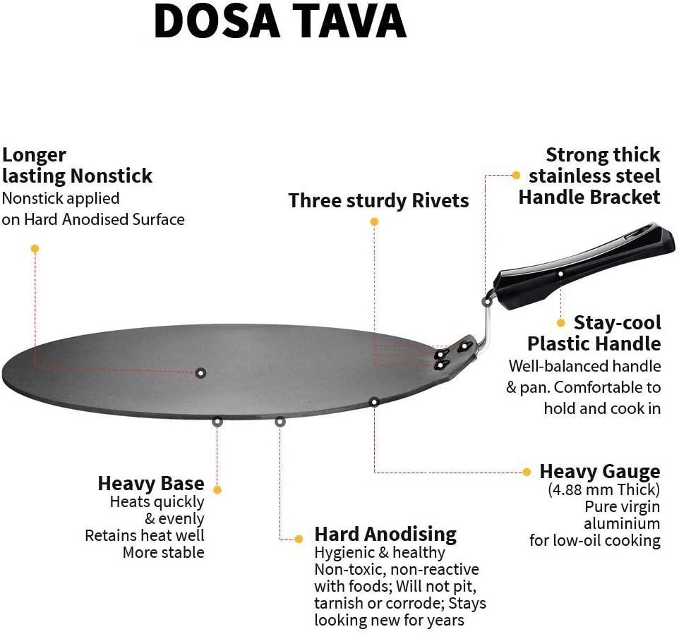 Spacetouch Dosa Tawa Non-Stick Dosa Tawa 28 Dosa Tava Non-Stick Tawa 28 cm Diameter Black