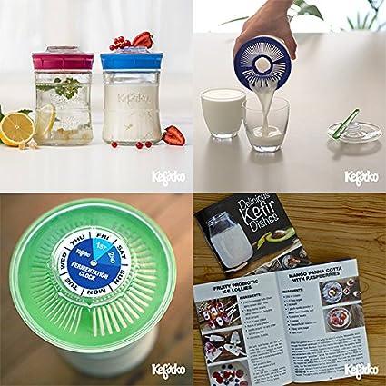 Kefirko Dunkelblau Machen Sie einfach Milch und Wasser Kefir zu Hause 848 ml Kefir Fermenter Starter Kit