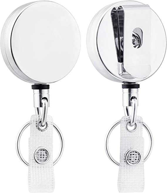 31 inches Strong Dyneema Pull Cord 2 Extra Carabiner Key Chain Rings 2 Pack Heavy Duty Metal Retractable Badge Holder Reel with Belt Clip Key Ring and Waterproof Vertical Clear ID Card Holder