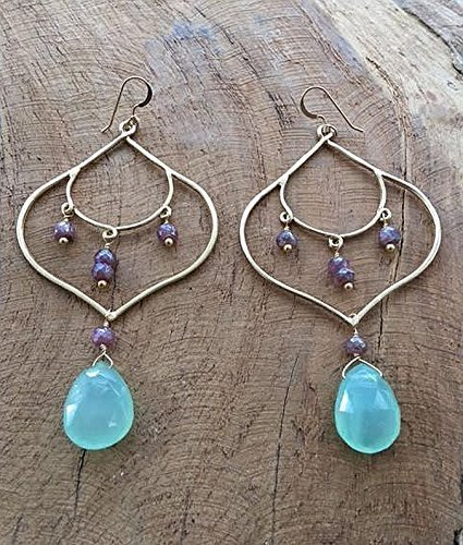 Chalcedony Earrings | Mystic Sapphire Earrings | Gold Vermeil Earrings | Chandelier Earrings | Bohemian Earrings | Gemstone Earrings